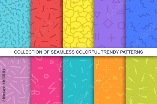 Fototapeta Collection of bright colorful seamless patterns - memphis design