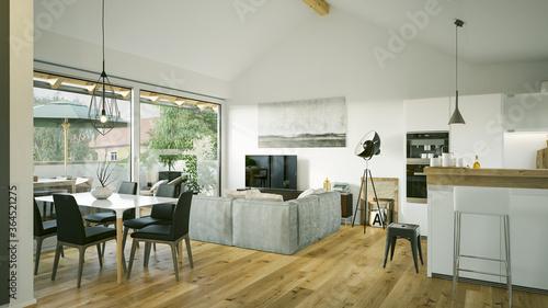 view inside modern luxury attic loft apartment - 3d rendering © Christian Hillebrand