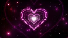Heart Love Tunnel Neon Light Disco Tube Abstract 3D Illustration Background.