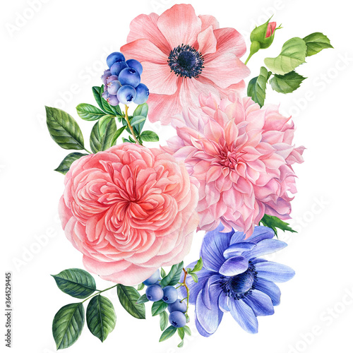 Bouquet of flowers on a white background Wallpaper Mural