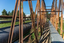 Old Rusty Iron Bridge Over The...