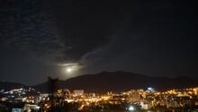 Panorama Of Night Alushta With Timelapse