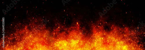 Fotografia, Obraz Fire embers particles over black black background
