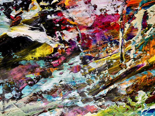 Colorful abstract background wallpaper. Modern motif visual art.  Mixtures of oil paint. Trendy hand painting canvas. Wall decor and Wall art prints Idea.  3D Texture. © Valeriy