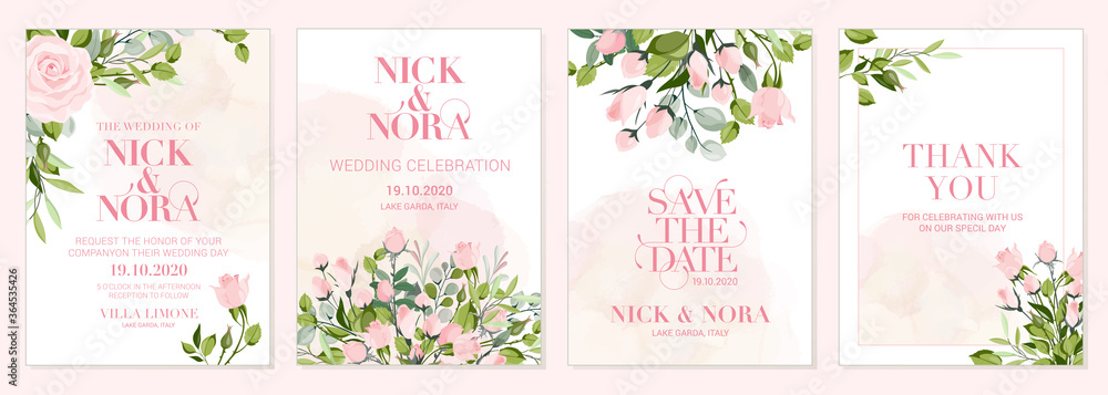 Fototapeta Wedding floral golden invitation card save the date design with pink flowers