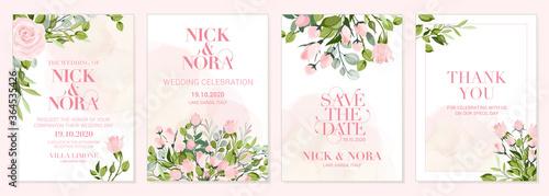 Fototapeta Wedding floral golden invitation card save the date design with pink flowers obraz