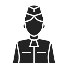 Stewardess Black Glyph Icon. M...