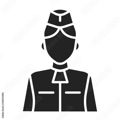 Stewardess black glyph icon Canvas Print