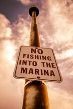 No Fishing Into The Marina Sign