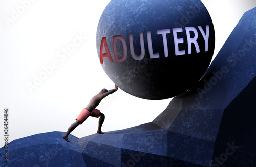 Adultery as a problem that makes life harder - symbolized by a person pushing we Wallpaper Mural