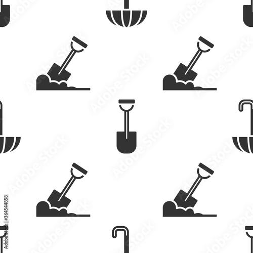 Fototapeta Set Umbrella, Shovel and Shovel in the ground on seamless pattern. Vector. obraz
