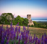 Fototapeta Na drzwi - Sunset over the medieval ruins of a temple at lake Balaton, Hungary