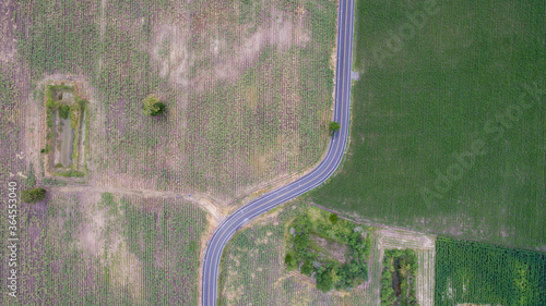 Fototapeta Aerial view road curve construction. Aerial above view of a rural landscape with a curvy road running through. Aerial view of curving road through colorful spring agriculture fields. obraz na płótnie