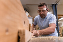 Low Angle Of Focused Carpenter...