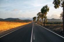Straight Asphalt Road Going Ne...