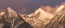Sharp Mountain Peaks Covered P...