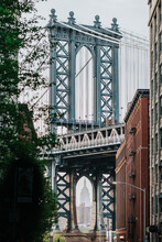 Scenic View Of Manhattan Bridge In New York City Through Leafy Tree Branches In Misty Day