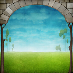 Beautiful green natural background with landscape and stone arch.