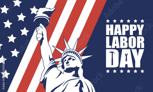 Tablou Canvas happy labor day celebration with usa flag and liberty statue