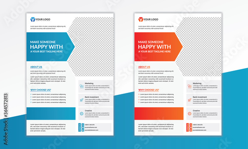 Fototapety, obrazy: Corporate  Flyer Design Template in A4., A4 size flyer design, modern Flyer Design