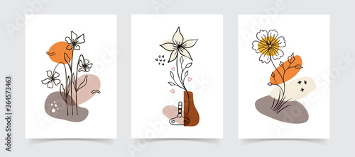 Abstract boho floral line art vector leaves background. Hand draw Wallpaper Mural