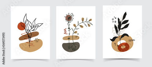 Платно Abstract boho floral line art vector leaves background. Hand draw