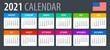 2021 Calendar - vector illustration, English, American version