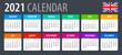 2021 Calendar - vector illustration, English version