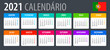 2021 Calendar - vector template graphic illustration - Portuguese version