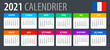 2021 Calendar - vector template graphic illustration - French version