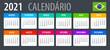 2021 Calendar - vector template graphic illustration - Brazilian version