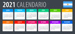 2021 Calendar - vector template graphic illustration - Argentinian version