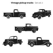Old Retro Pickup Trucks Vector Illustration Set. Vintage Transport Vehicle