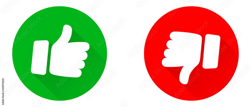 Fototapeta Thumbs up and thumb down icon set. Thumb up and thumb down line icons. Flat style - stock vector.