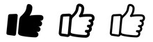 Thumbs Up Icon Set. Thumb Up Line Icons. Flat Style - Stock Vector.