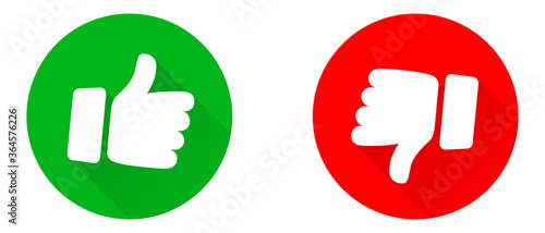 Fototapeta Thumbs up and thumb down icon set. Thumb up and thumb down line icons. Flat style - stock vector. obraz