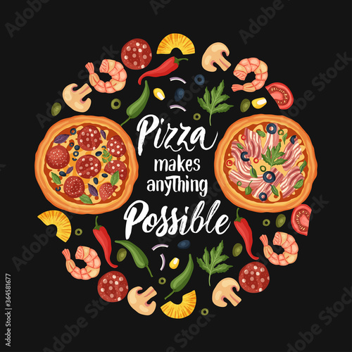 Fotografia Hand drawn lettering food tasty pizza poster illustration