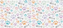 Volumetric Prints Of Cat's Paws And Skeletons Of Fish Of Different Colors On A Light Gray Background. Warm Endless Seamless Vector Pattern Of Cat Tracks. Pads And Fish Bones