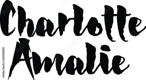 Photo Capital City Name  Charlotte Amalie  Hand Written Typography word modern  Call