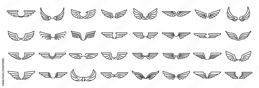 Fototapeta Angel wings icons set. Outline set of angel wings vector icons for web design isolated on white background