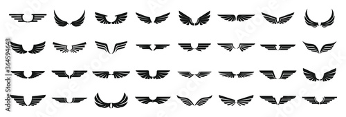 Fototapeta Wings icons set. Simple set of wings vector icons for web design on white background obraz
