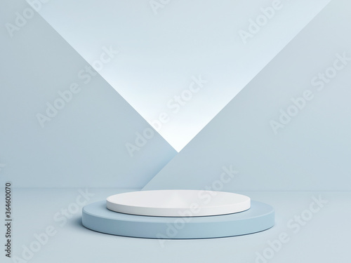 Obraz na plátně Mockup podium for product presentation, blue abstract geometry 3d render, 3d ill