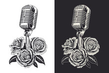 Vintage Microphone And Roses, ...