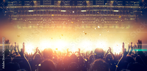 Obraz Panoramic shot of a concert hall during a music festival - fototapety do salonu
