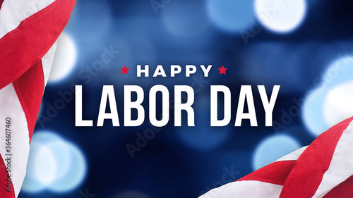 Tablou Canvas Happy Labor Day Text Over Defocused Blue Bokeh Lights Background with Patriotic