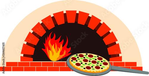 Fototapeta Pizza oven and pizza vector illustration  obraz
