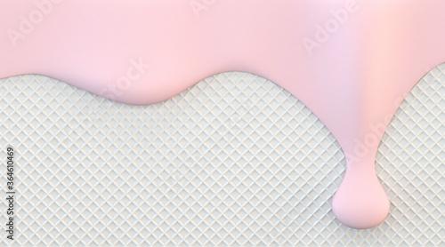 Fototapeta Pink strawberry cream melting down 3D obraz