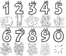 Cartoon Numbers Set Coloring B...