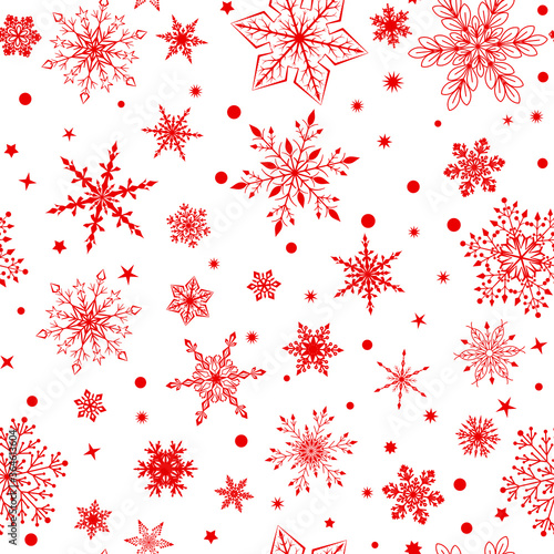 Fototapeta Christmas seamless pattern with various complex big and small snowflakes, red on white background obraz na płótnie