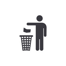 People Throwing Trash In Recycle Bin